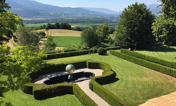 Mantle bronze sphere with breathtaking French mountain views