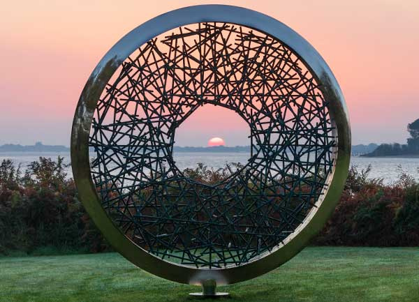 Sunrise captured through the hole at the centre of the Ortus sculpture