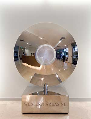 Reflective stainless steel indoor sculpture
