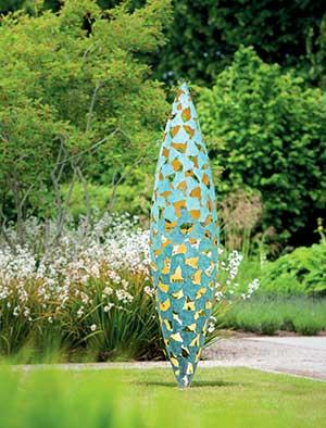 Metal garden sculpture in stainless steel corten steel or verdigris bronze