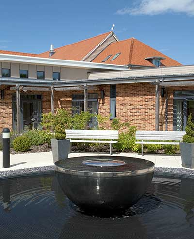 Chalice water feature, Marie Curie Cancer Care, West Midlands Hospice