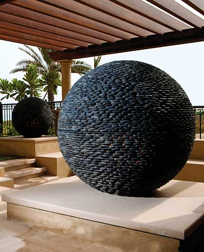 Large Dark Planet sculptures, Hotel annexe, Abu Dhabi