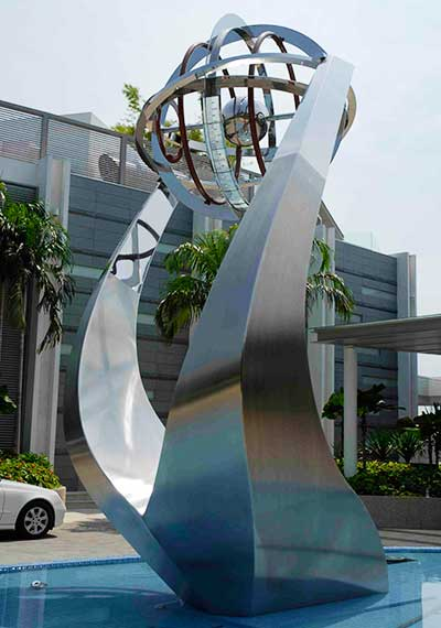 Corporate sculpture with armillary sphere, Singapore