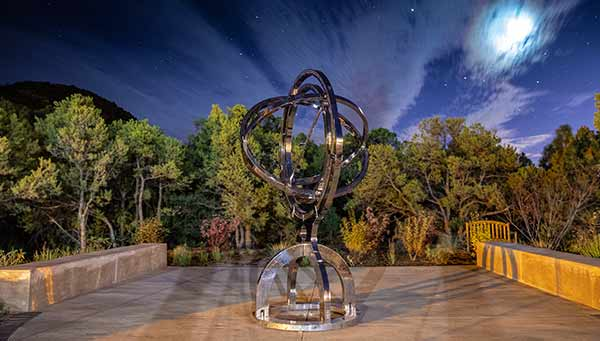 Historic armillary sphere at St Johns College, Sante Fe