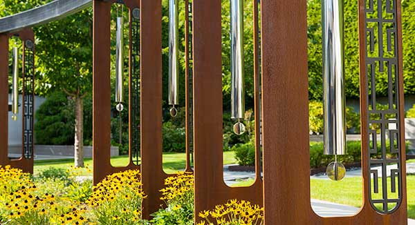 Giant windchimes in corten steel
