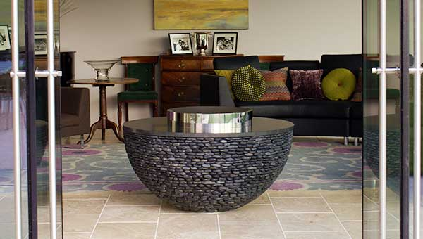 Hemispherical indoor fire pit