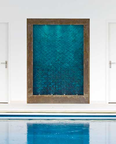 Amazing Water Wall By A Swimming Pool