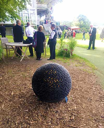 Dark Planet stone sphere at Garsington Opera