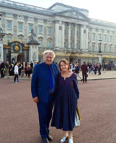 David and Sophie Harber outside Buckingham Palace before a reception for winners of the Queen