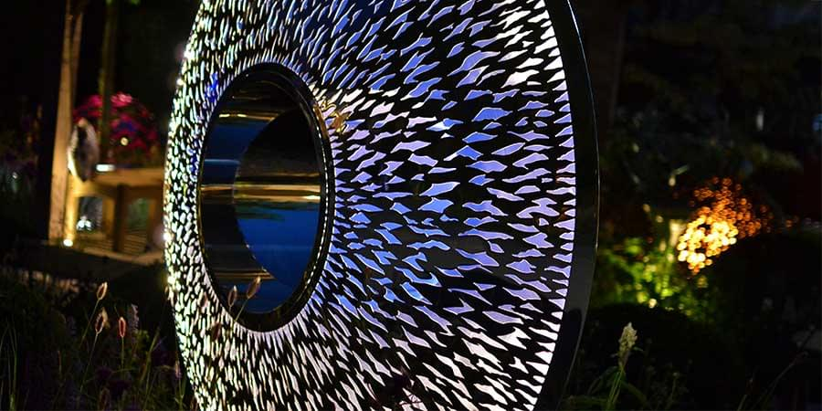 Iris Torus internally lit at night