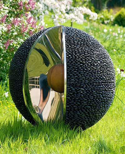 Garden Sphere Sculpture Black Stone Outdoor Spheres With