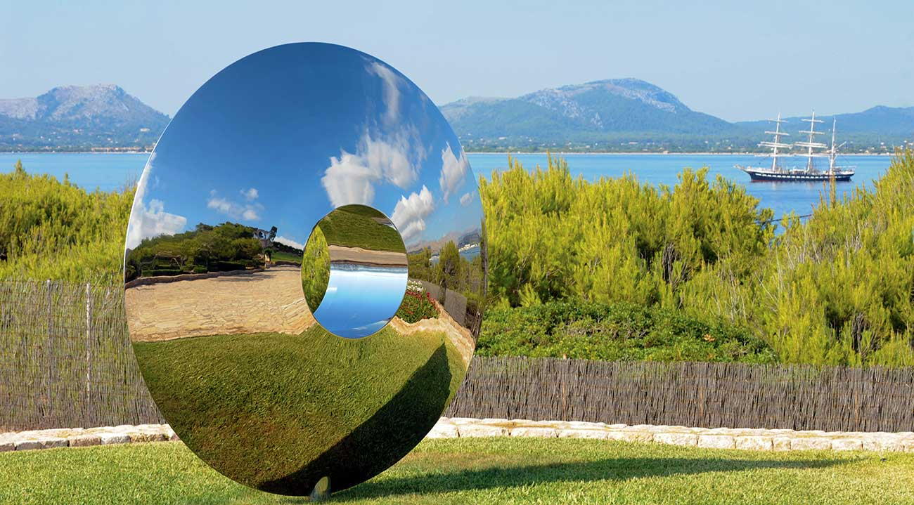 Torus large outdoor sculpture in stainless steel