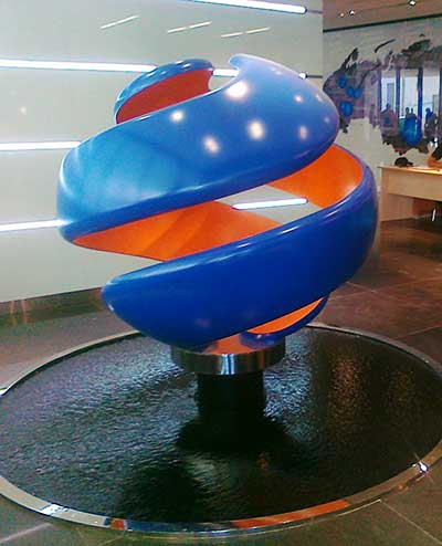 Kinetic logo sculpture,