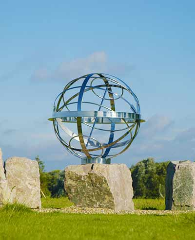Armillary sphere in monolith circle,