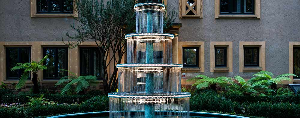 Four tiered fountain for company headquarters