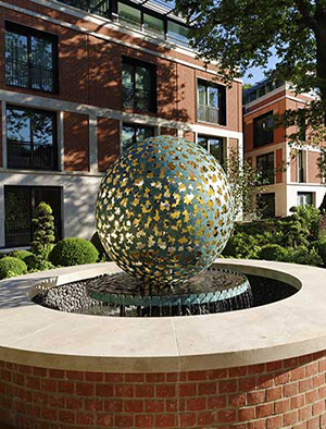 Custom sculptures and water features for luxury homes, London, England