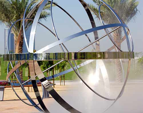 Custom sculptures and water features in Zabeel Park, Dubai