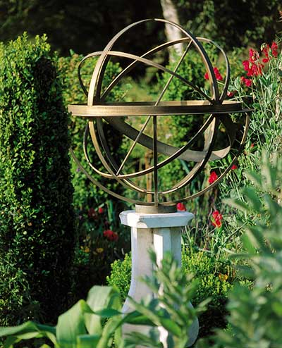 Traditional sundial in a garden setting