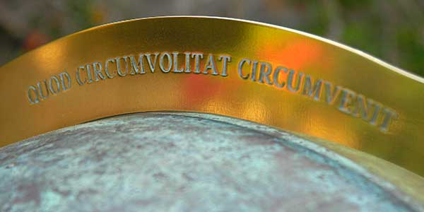 Personalised engraving on the copper globe garden sundial