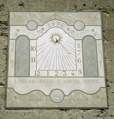 Hand painted vertical sundial