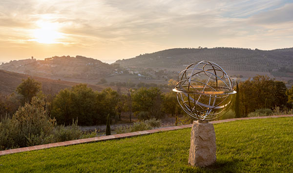 Stainless steel armillary sphere with a view