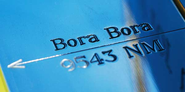 Engraved pointer to Bora Bora on a stainless steel armillary sphere