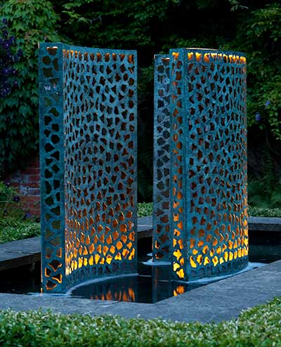 Bronze Water Wall With Gold Leaf Backing Curved Water Wall