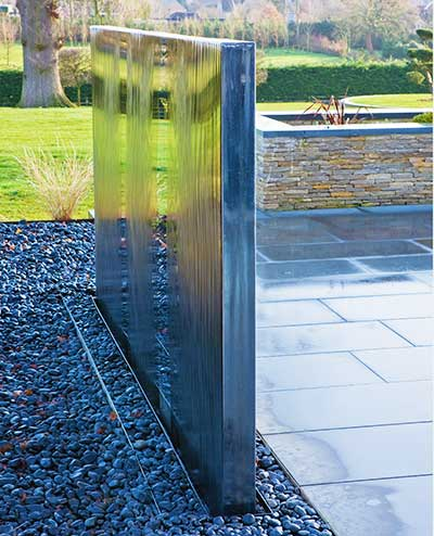 Double sided version of the stainless steel water wall